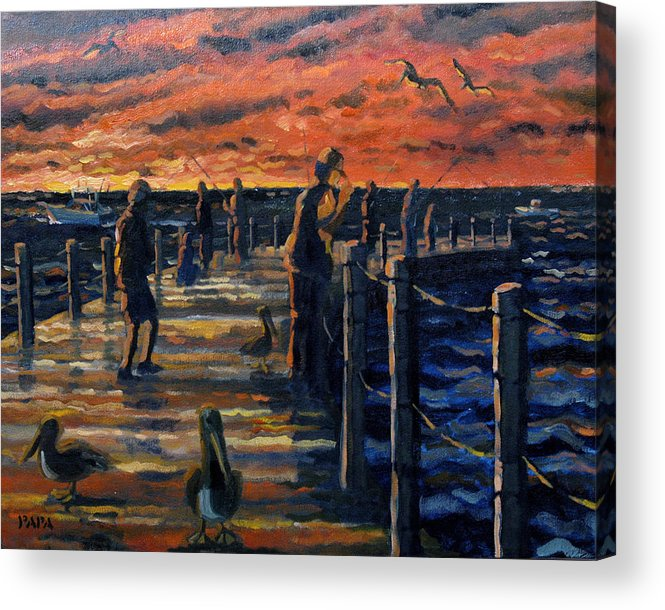 Sunrise Acrylic Print featuring the painting Sunrise At The Inlet by Ralph Papa