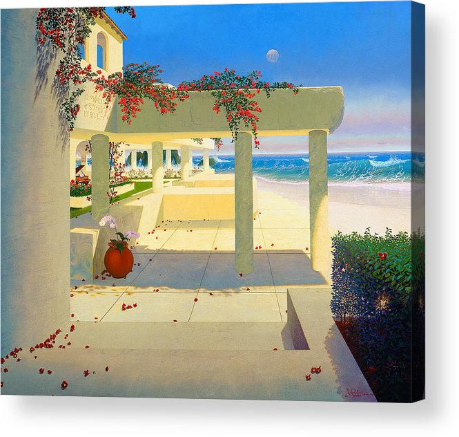 Patio By The Shore Acrylic Print featuring the painting Telos Mu Mural From The Accelerated Evolution Series by Loren Adams