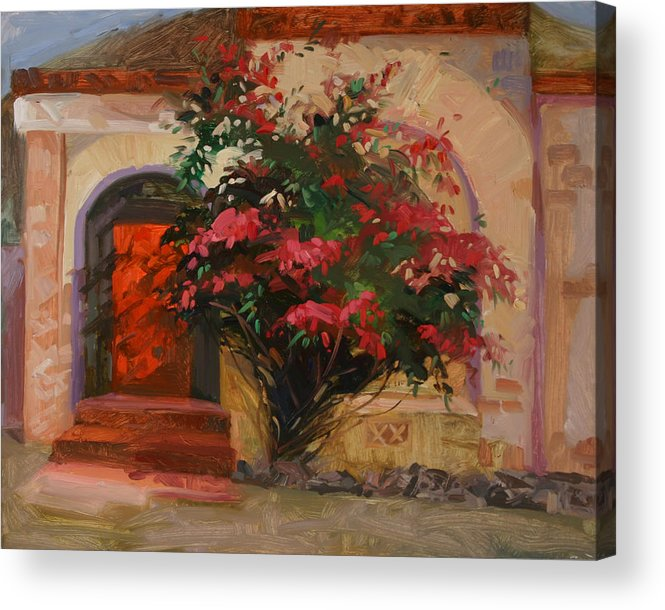 Catalina Island Ca Acrylic Print featuring the painting The Red Door - Catalina Island by Betty Jean Billups