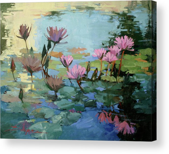 Floral Acrylic Print featuring the painting Times Between - water Lilies by Betty Jean Billups