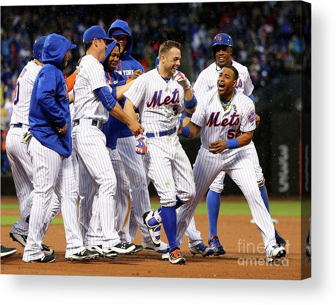Yoenis Cespedes Acrylic Print featuring the photograph Yoenis Cespedes and David Wright by Elsa