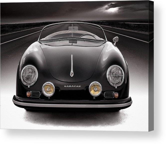 Porsche Acrylic Print featuring the photograph Black Porsche Speedster by Douglas Pittman