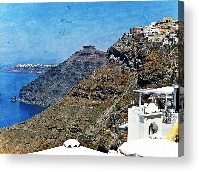 Santorini Acrylic Print featuring the photograph Santorini Caldera by Sophie Vigneault