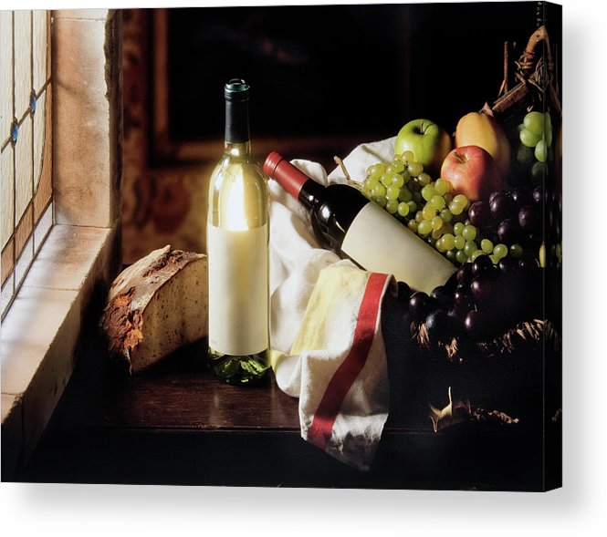 Golden Delicious Apple Acrylic Print featuring the photograph Still Life With Two Wine Bottles by C-vino