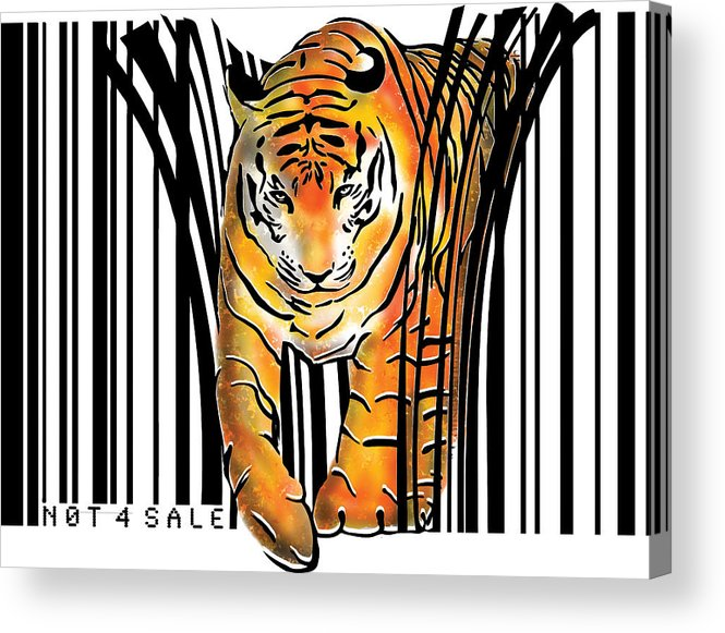 Tiger Acrylic Print featuring the digital art Tiger barcode by Sassan Filsoof