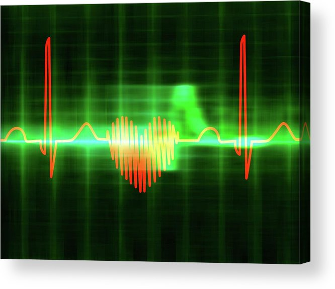Heart Acrylic Print featuring the photograph Heart-shaped Ecg Trace by Alfred Pasieka