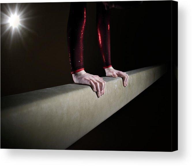 Human Arm Acrylic Print featuring the photograph Female Gymnast On Balancing Beam by Mike Harrington