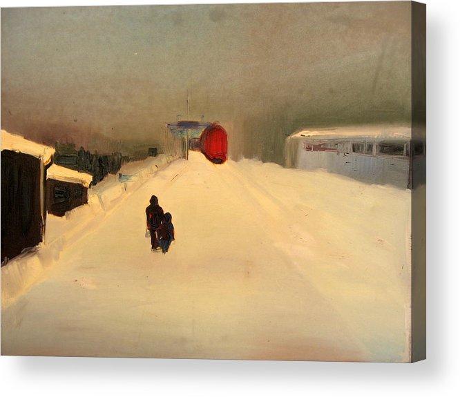 Landscape Acrylic Print featuring the painting A Railway Impression II by Marta Zamarska