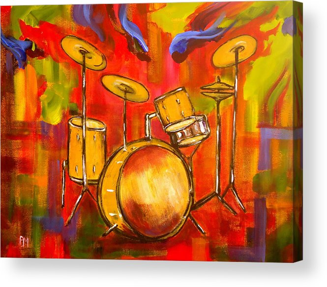 Drums Acrylic Print featuring the painting Abstract Drums by Pete Maier