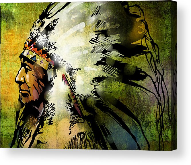 Native American Acrylic Print featuring the painting American Horse by Paul Sachtleben