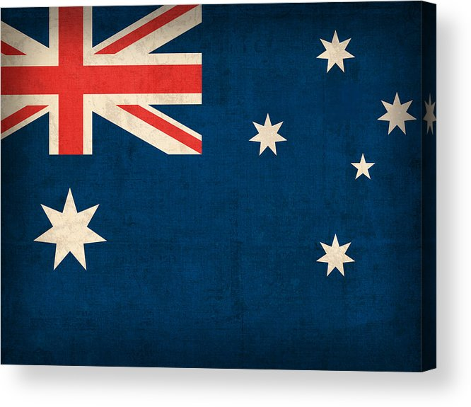 Australia Flag Vintage Distressed Finish Outback Australian Sydney Brisbane Pacific Continent Country Nation Australian Acrylic Print featuring the mixed media Australia Flag Vintage Distressed Finish by Design Turnpike