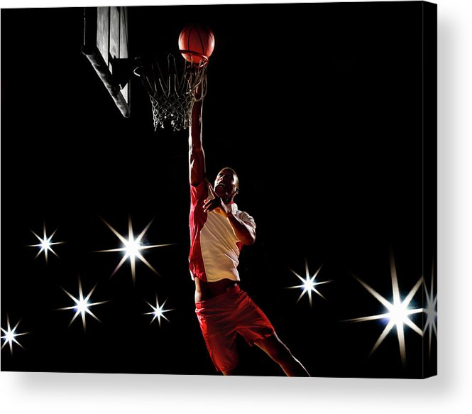 Three Quarter Length Acrylic Print featuring the photograph Basketball Player Dunking Basketball On by Compassionate Eye Foundation/chris Newton