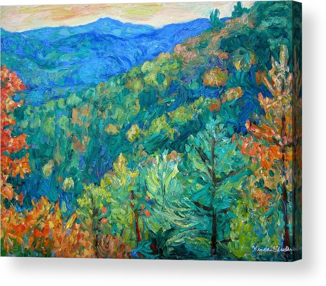 Blue Ridge Mountains Acrylic Print featuring the painting Blue Ridge Autumn by Kendall Kessler