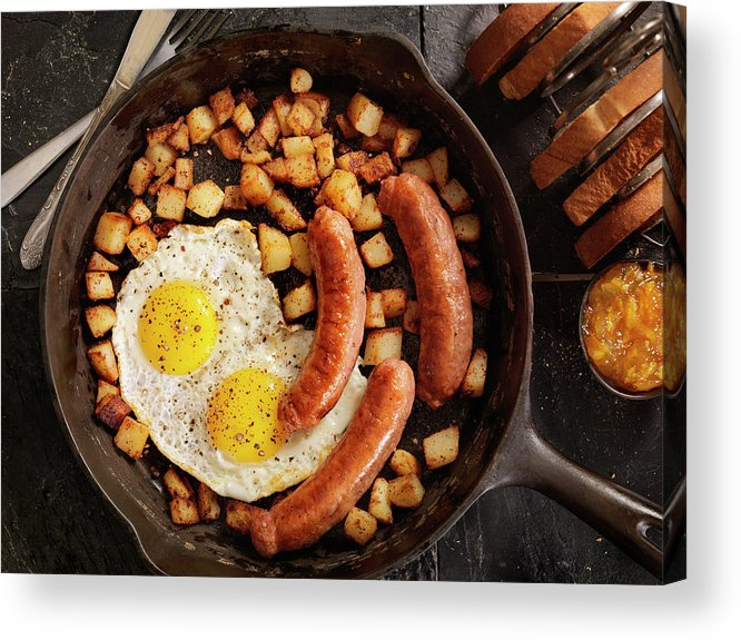 Breakfast Acrylic Print featuring the photograph Breakfast With Sunny Side Up Eggs And by Lauripatterson