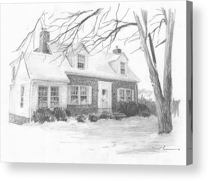 <a Href=http://miketheuer.com Target =_blank>www.miketheuer.com</a> Brick Cottage Pencil Portrait Acrylic Print featuring the drawing Brick Cottage Pencil Portrait by Mike Theuer