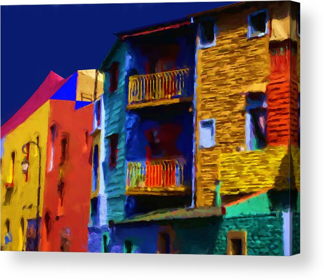 Buenos Aires Caminito Typical Street Atmonphere Painting Acrylic Print featuring the digital art Buenos Aires Caminito Typical Street Atmonphere Painting by Asbjorn Lonvig