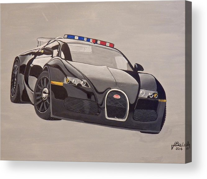 Bugatti Acrylic Print featuring the painting Bugatti Police by Jim Reale