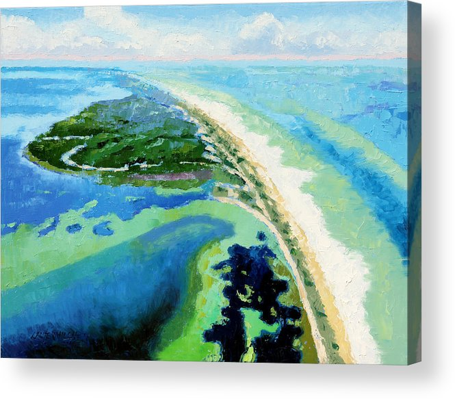 Landscape Acrylic Print featuring the painting Cape San Blas Florida by John Lautermilch