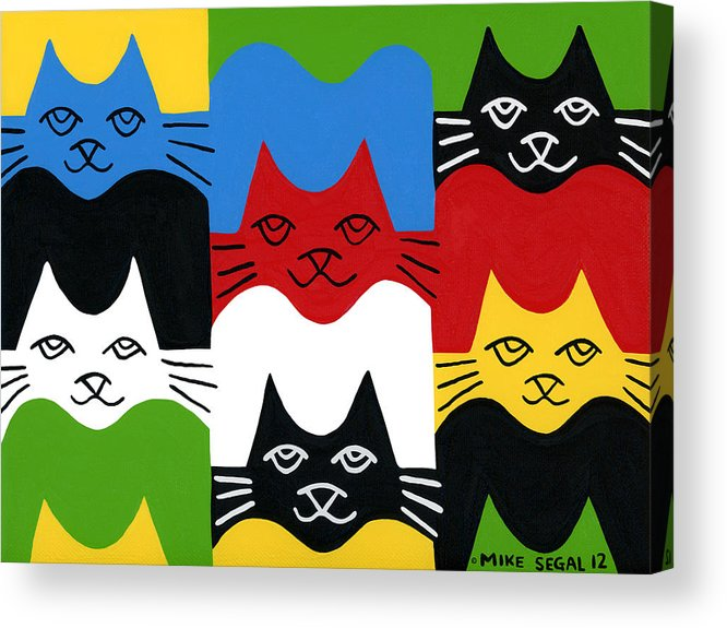 Cat Acrylic Print featuring the painting Cats by Mike Segal