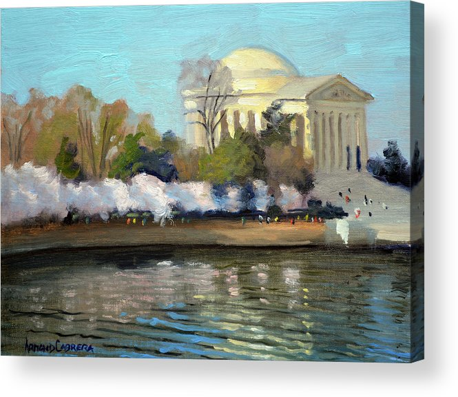 Washington Dc Acrylic Print featuring the painting Cherry Blossoms Morning - Washington DC by Armand Cabrera
