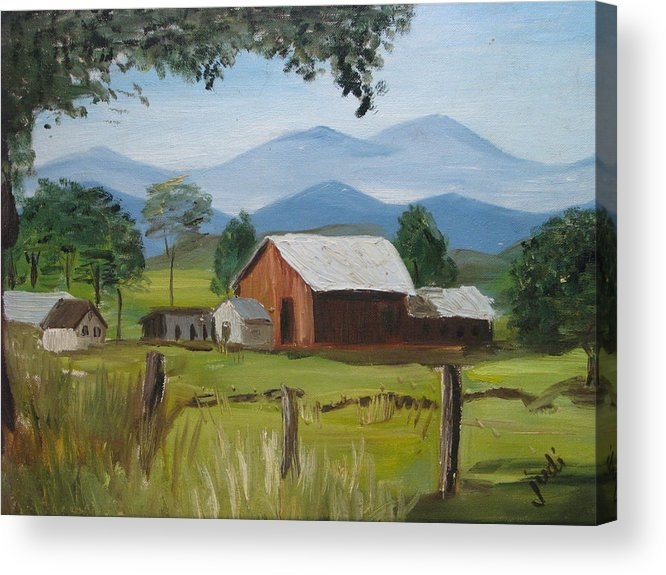 Barn Acrylic Print featuring the painting County Farm by Judi Pence