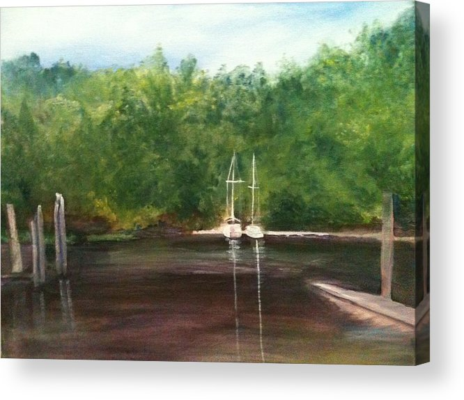 Plein Aire Acrylic Print featuring the painting Curtain's Marina by Sheila Mashaw