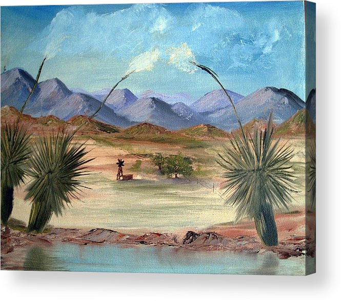 Desert Acrylic Print featuring the painting Desert Water Tank by Judi Pence
