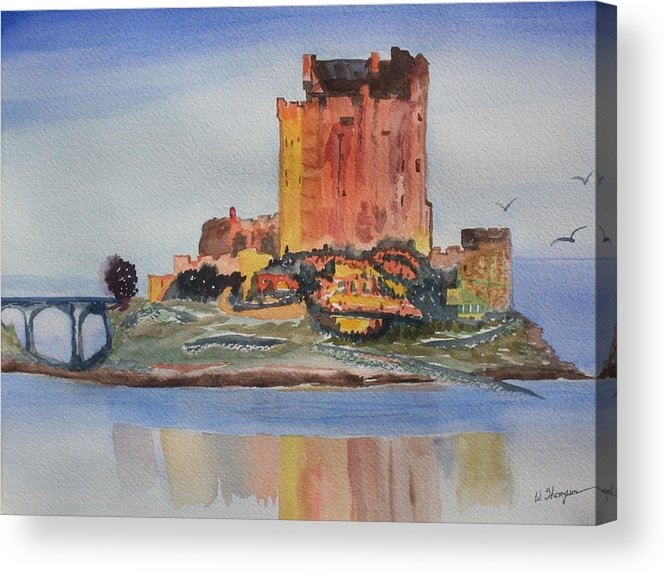 Scotland Acrylic Print featuring the painting Eilean Donan Castle Dornie Inverness shire Scotland by Warren Thompson