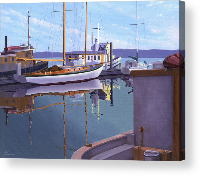 Schooner Acrylic Print featuring the painting Evening on Malaspina Strait by Gary Giacomelli