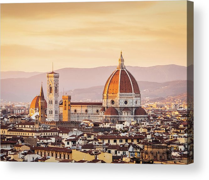 Campanile Acrylic Print featuring the photograph Florences Cathedral And Skyline At by Filippobacci