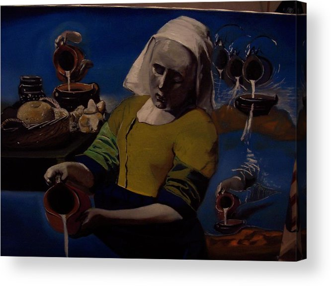 Acrylic Print featuring the painting Geological Milk Maid Anthropomorphasized by Jude Darrien
