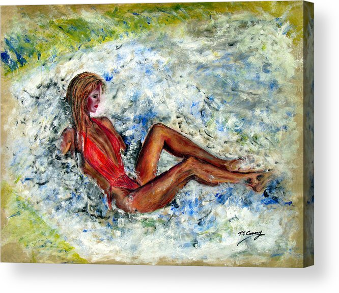 Girl Acrylic Print featuring the painting Girl in a red Swimsuit by Tom Conway