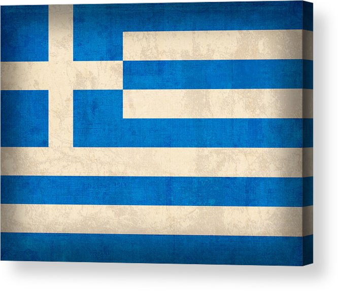 Greece Greek Athen Hellenic Ruins Acropolis Flag Vintage Distressed Finish Acrylic Print featuring the mixed media Greece Flag Vintage Distressed Finish by Design Turnpike