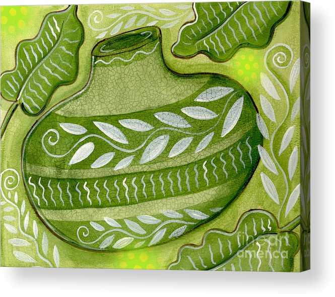Leaves Acrylic Print featuring the mixed media Green Gourd by Elaine Jackson