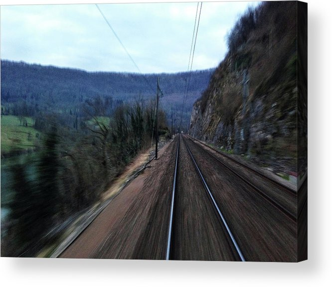 Railroad Track Acrylic Print featuring the photograph Green Travel by Lazypixel / Brunner Sébastien
