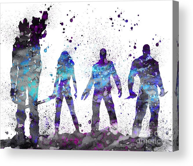 Guardians Of The Galaxy Watercolor Print Acrylic Print featuring the painting Guardians Of The Galaxy by Watercolor Girl