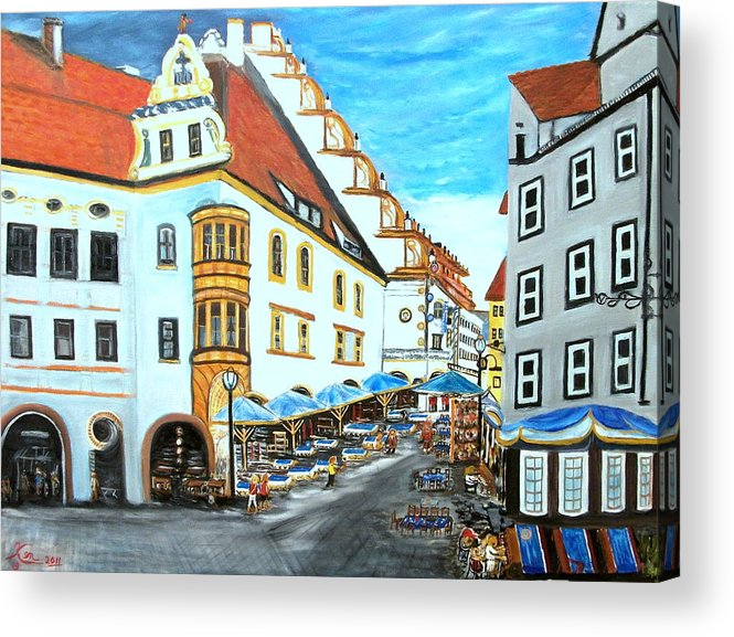 Landscape Acrylic Print featuring the painting Hofbrauhaus Munchen by Kenneth LePoidevin