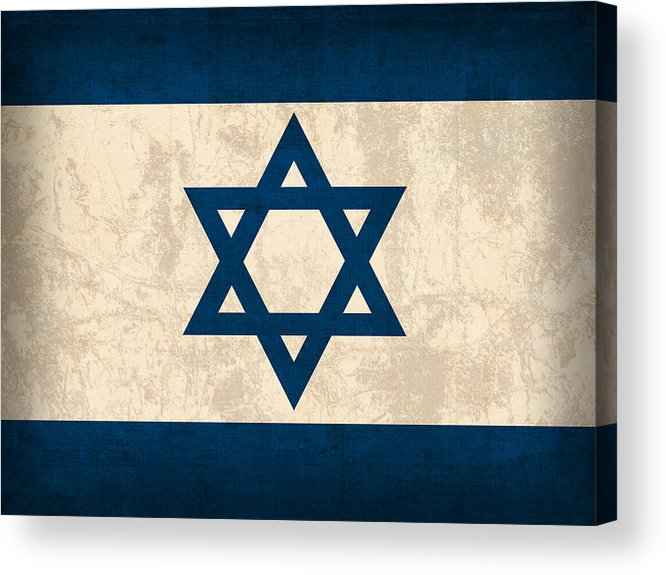 Israel Flag Vintage Distressed Finish Acrylic Print featuring the mixed media Israel Flag Vintage Distressed Finish by Design Turnpike