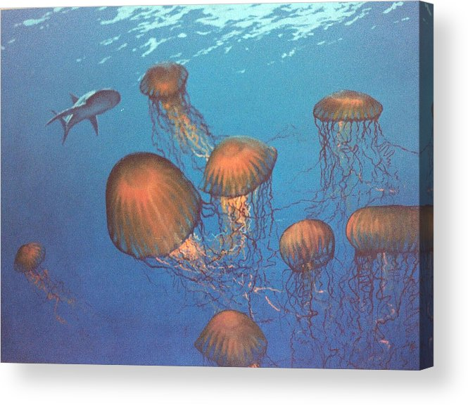 Underwater Acrylic Print featuring the painting Jellyfish and Mr. Bones by Philip Fleischer
