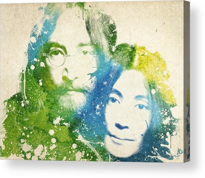 The Beatles Acrylic Print featuring the painting John Lennon and yoko ono by Aged Pixel