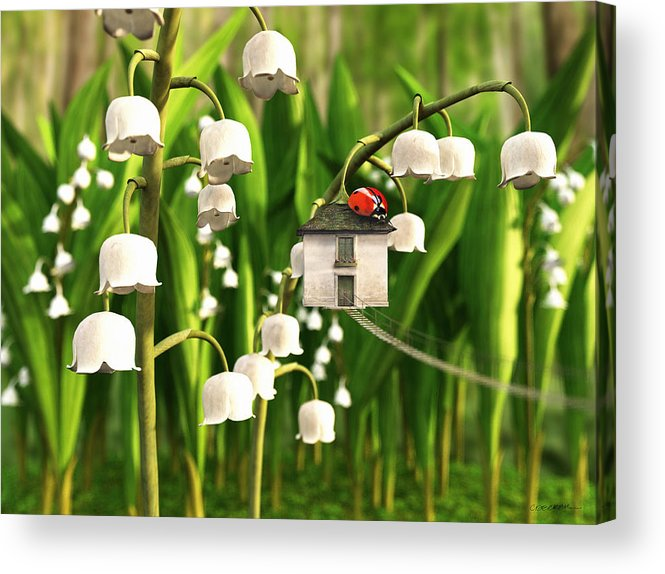 Spring Acrylic Print featuring the digital art Lily of the Valley by Cynthia Decker