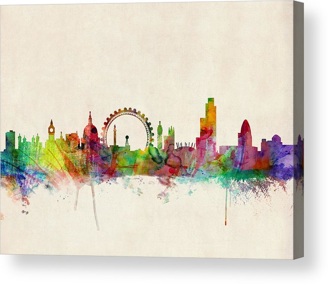 London Acrylic Print featuring the digital art London Skyline Watercolour by Michael Tompsett