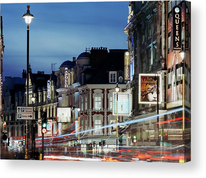 Recreational Pursuit Acrylic Print featuring the photograph Londons Shaftesbury Avenue At Dusk by Shomos Uddin
