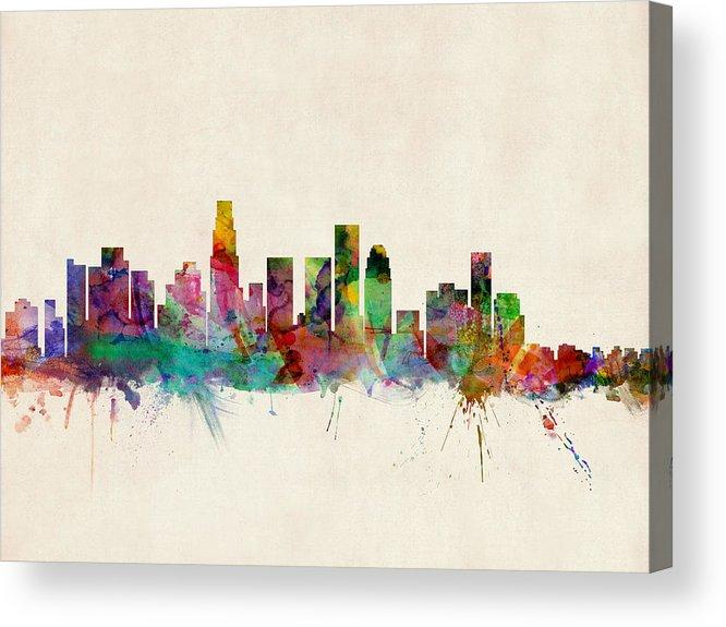 Watercolour Acrylic Print featuring the digital art Los Angeles City Skyline by Michael Tompsett