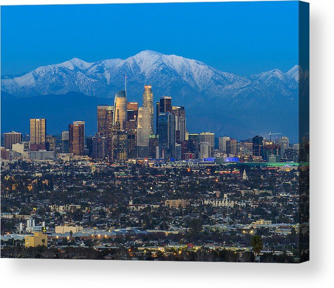 Downtown District Acrylic Print featuring the photograph Los Angeles Skyline With Snow Capped Mountains by Carl Larson Photography