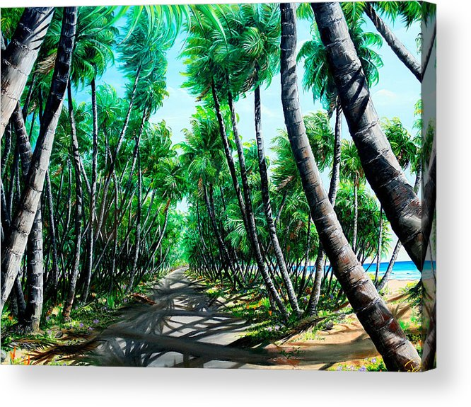 Coconut Trees Acrylic Print featuring the painting Manzanilla Coconut Estate by Karin Dawn Kelshall- Best
