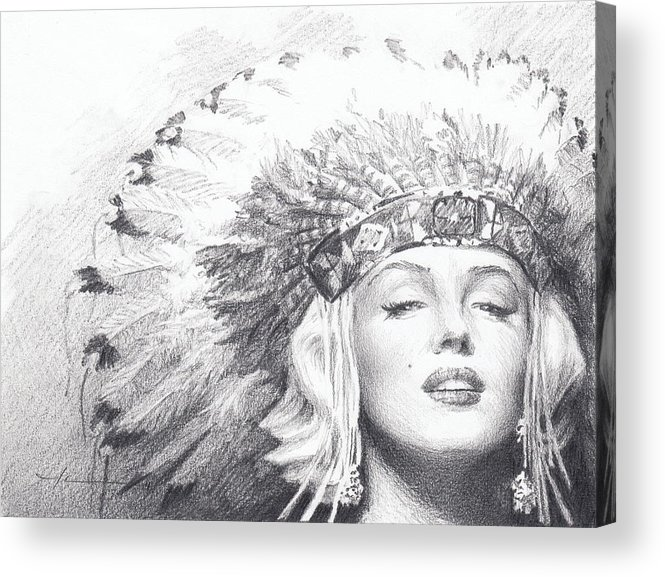 <a Href=http://miketheuer.com Target =_blank>www.miketheuer.com</a> Acrylic Print featuring the drawing Marilyn Monroe In Headdress Pencil Portrait by Mike Theuer