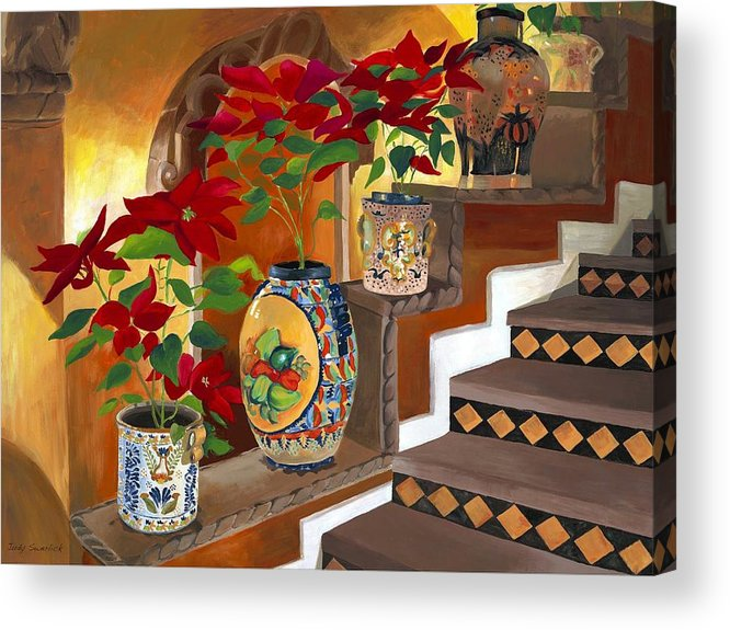 Mexican Pottery Acrylic Print featuring the painting Mexican Pottery on Staircase by Judy Swerlick