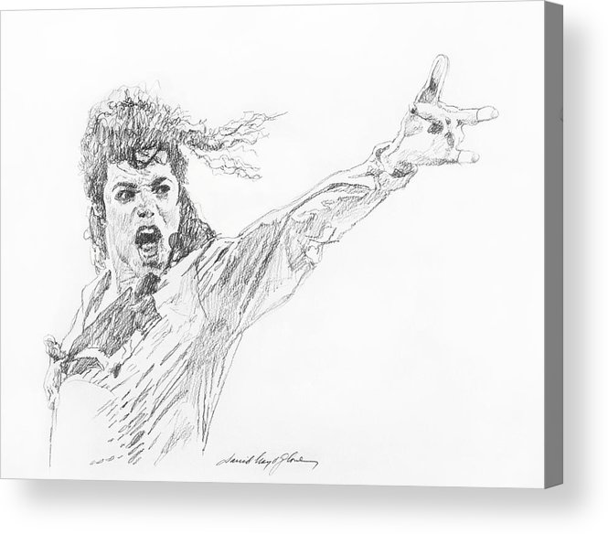 Michael Jackson Acrylic Print featuring the painting Michael Jackson Power Performance by David Lloyd Glover