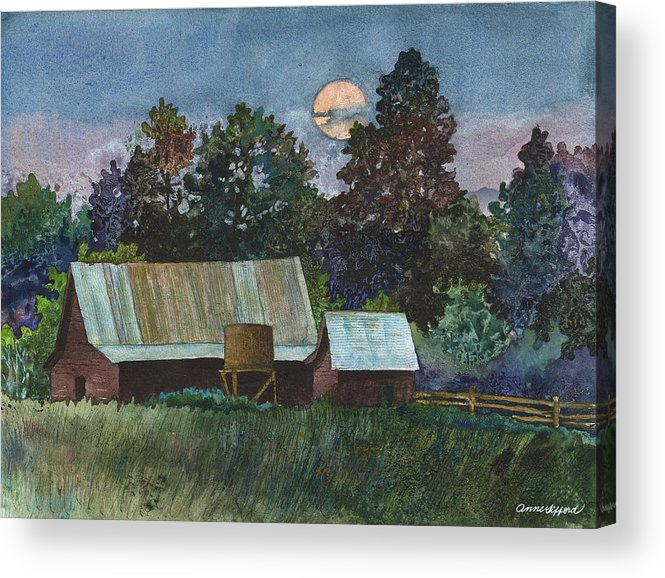 Moonlight Painting Acrylic Print featuring the painting Moonlight over Caribou by Anne Gifford